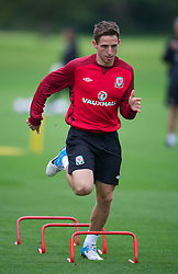 CARDIFF, WALES - Monday, August 13, 2012: Wales' Joe Allen during a training session at the Vale of Glamorgan ahead of the international friendly match against Bosnia-Herzegovina. (Pic by David Rawcliffe/Propaganda)