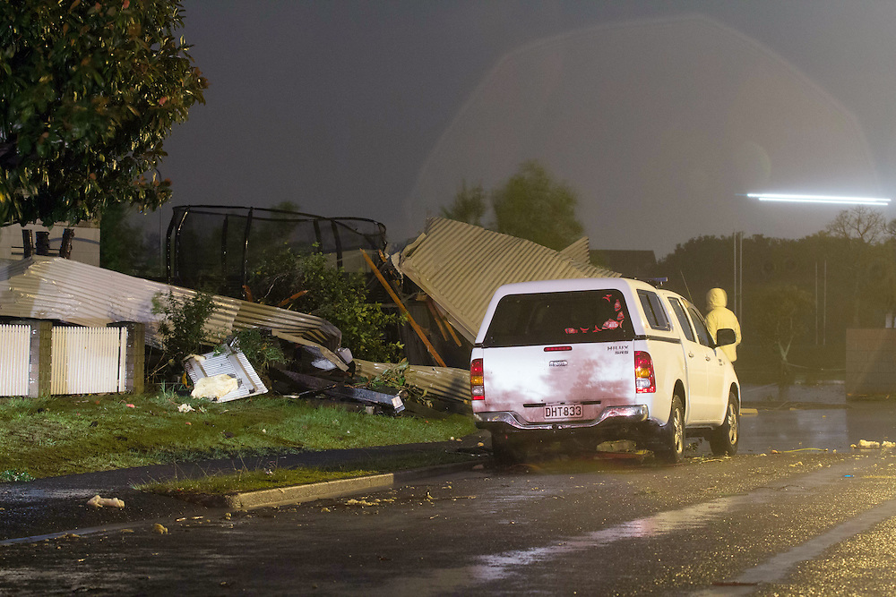 Emergency services are responding to multiple calls after a mini-tornado swept through Mt Maunganui, Tauranga, New Zealand, Thursday, May 14, 2015. Credit:SNPA / Cameron Avery