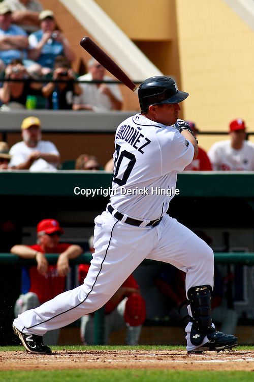 March 9, 2011; Lakeland, FL, USA; Detroit Tigers right fielder Magglio Ordonez (30) during a spring training exhibition game against the Philadelphia Phillies at Joker Marchant Stadium.   Mandatory Credit: Derick E. Hingle