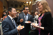 From left, Wisley Deng, Jitendra Tayal and Kelley Bergsma of Ohio University's Finance Department attend the 2016 Alumni Awards Gala at Ohio University's Baker Center Ballroom on Friday, October 07, 2016.