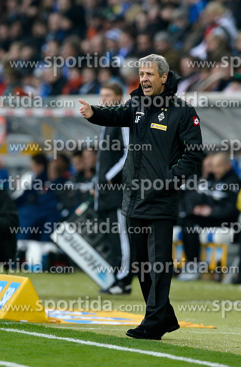 19.01.2013, Rhein Neckar Arena, Sinsheim, GER, 1. FBL, TSG 1899 Hoffenheim vs Borussia Moenchengladbach, 18. Runde, im Bild Trainer Lucien FAVRE Borussia Mönchengladbach am Spielfeldrand Gestik Geste // during the German Bundesliga 18th round match between TSG 1899 Hoffenheim and Borussia Moenchengladbach at the Rhein Neckar Arena, Sinsheim, Germany on 2013/01/19. EXPA Pictures © 2013, PhotoCredit: EXPA/ Eibner/ Weber..***** ATTENTION - OUT OF GER *****