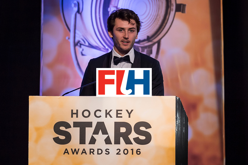 CHANDIGARH, INDIA - FEBRUARY 23: Winner of the FIH Male Rising Star of the Year Arthur Van Doren of Belgium speaks during the FIH Hockey Stars Awards 2016 at Lalit Hotel on February 23, 2017 in Chandigarh, India. (Photo by Ali Bharmal/Getty Images for FIH)