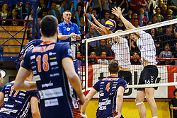 Maxon Guilherme Pereira and Videcnik Matic of Calcit Volley during volleyball match between Calcit Volley and ACH Volley in Final of 1. DOL Slovenian Man national Championship 2016/17 on 24th of April, 2017 in Kamnik, Slovenija.  Photo by Grega Valancic / Sportida