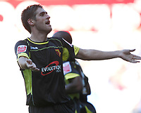 Photo: Steve Bond/Richard Lane Photography. Reading v Watford. Coca Cola Championship. 26/09/2009. Danny Graham celebrates with the Watford fans