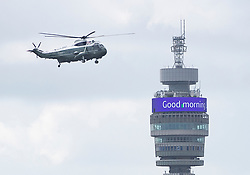 © Licensed to London News Pictures. 03/06/2019. London, UK. Marine One carrying US President Donald Trump flies past a Good Morning message on London's BT Tower as he starts his State Visit to the United Kingdom. During his three days in the UK he will meet with members of the Royal family and outgoing Prime Minister Theresa May before attending 75th Anniversary of D-Day commemorations in Portsmouth and France. Photo credit: Peter Macdiarmid/LNP