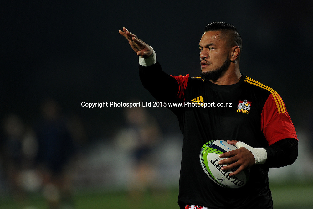 Hika Elliot of the Chiefs looks on, prior to the Super Rugby Match between the Highlanders and the Chiefs, held at Rugby Park, Invercargill, New Zealand, 30th May 2015. Credit: Joe Allison / www.Photosport.co.nz