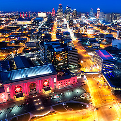Drone's eye view of downtown Kansas City Missouri at dusk
