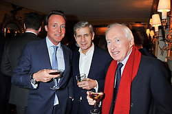 Left to right, PIERS BECKWITH, SIR STUART ROSE and SIR JOHN BECKWITH at the Johnnie Walker Blue Label and David Gandy partnership launch party held at Annabel's, 44 Berkeley Square, London on 5th February 2013.