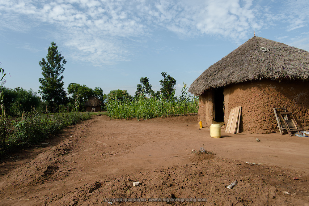 A hut at the home of Catherine Apoyo near Tororo, Uganda on 2 August 2014.