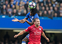 Football - 2016/2017 Premier League - Chelsea V Leicester.<br /> <br /> Nathaniel Chalobah of Chelsea rises over the head of Daniel Drinkwater of Leicester City at Stamford Bridge.<br /> <br /> COLORSPORT/DANIEL BEARHAM