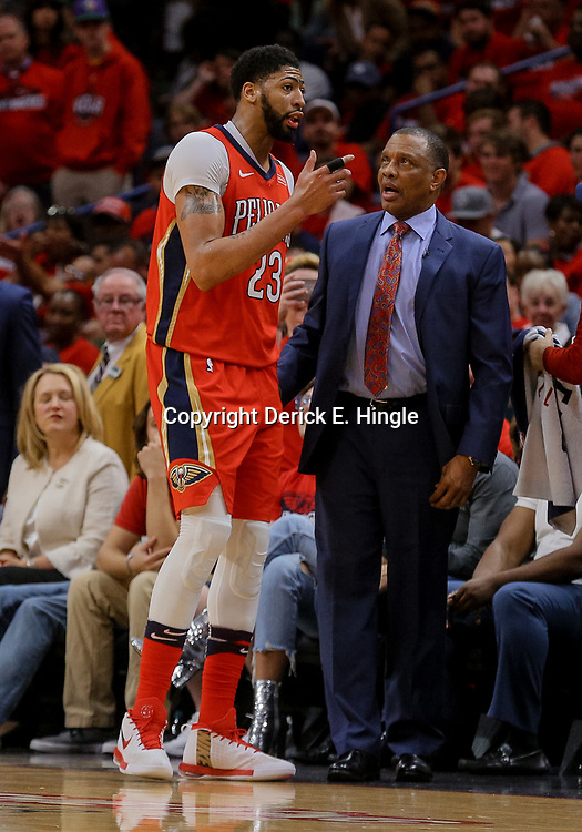 Apr 19, 2018; New Orleans, LA, USA; New Orleans Pelicans forward Anthony Davis (23) talks with head coach Alvin Gentry during the second quarter in game three of the first round of the 2018 NBA Playoffs against the Portland Trail Blazers at the Smoothie King Center. Mandatory Credit: Derick E. Hingle-USA TODAY Sports
