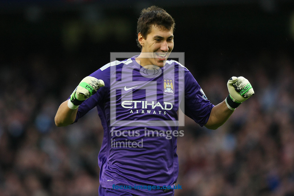 Picture by Paul Chesterton/Focus Images Ltd +44 7904 640267<br /> 02/11/2013<br /> Costel Pantilimon of Man City celebrates his side scoring their 4th goal during the Barclays Premier League match at the Etihad Stadium, Manchester.