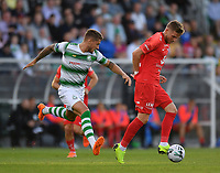 18 July 2019; Gilli Rólantsson of SK Brann in action against Lee Grace of Shamrock Rovers during the UEFA Europa League First Qualifying Round 2nd Leg match between Shamrock Rovers and SK Brann at Tallaght Stadium in Dublin. Photo by Seb Daly/Sportsfile