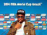 Wyclef Jean, who performs during tomorrow's World Cup Final ceremony, looks on during the FIFA Daily Press Conference at Maracana Stadium, Rio de Janeiro.<br /> Picture by Andrew Tobin/Focus Images Ltd +44 7710 761829<br /> 12/07/2014