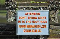 Sign seen at Pura Kebo Edan near ubud, bali, indonesia