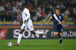 12.06.2010, Sandton - Nelson Mandela Square, Johannesburg, RSA, FIFA WM 2010, 3D television, im Bild Emile Heskey of England has a chance on goal with this effort, EXPA Pictures © 2010, PhotoCredit: EXPA/ IPS/ Mark Atkins / SPORTIDA PHOTO AGENCY
