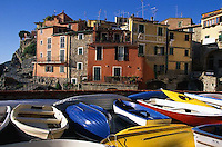 2000, Tellaro, Italy --- Dry Boats by Poets' Gulf --- Image by © Owen Franken/CORBIS