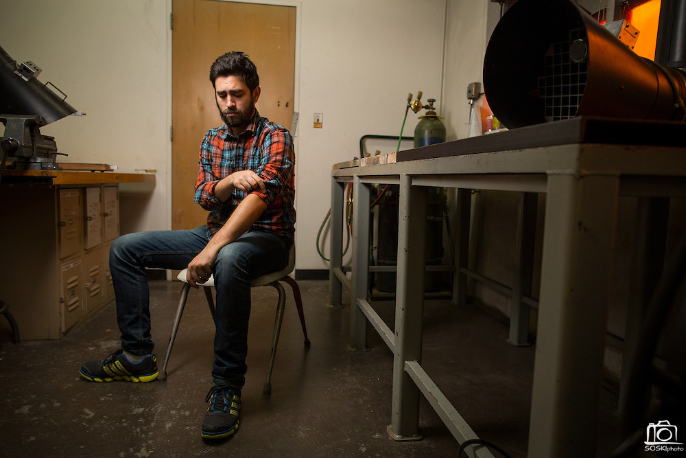 San Jose State University Department of Design student Steven Montalvo poses for a portrait at San Jose State University's Art Building in San Jose, California, on May 13, 2016. (Stan Olszewski/SOSKIphoto)