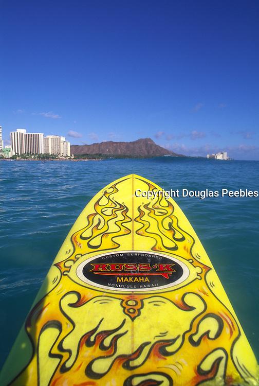Surfing, Waikiki, Diamond Head, Oahu, Hawaii<br />