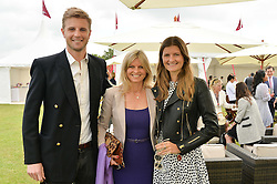 Left to right, HARRY WENTWORTH-STANLEY, his mother the MARCHIONESS OF MILFORD HAVEN and LOUISA WENTWORTH-STANLEY at the Cartier Queen's Cup Polo final at Guard's Polo Club, Smiths Lawn, Windsor Great Park, Egham, Surrey on 14th June 2015