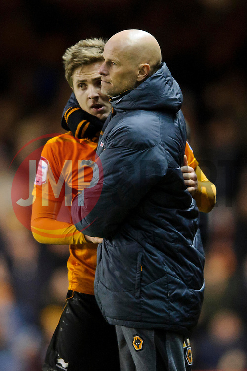 Wolves Manager Stale Solbakke (NOR) hugs double goalscorer Forward Kevin Doyle (IRL) as he is substituted during the second half of the match - Photo mandatory by-line: Rogan Thomson/JMP - Tel: Mobile: 07966 386802 01/12/2012 - SPORT - FOOTBALL - Ashton Gate - Bristol. Bristol City v Wolverhampton Wanderers - npower Championship.