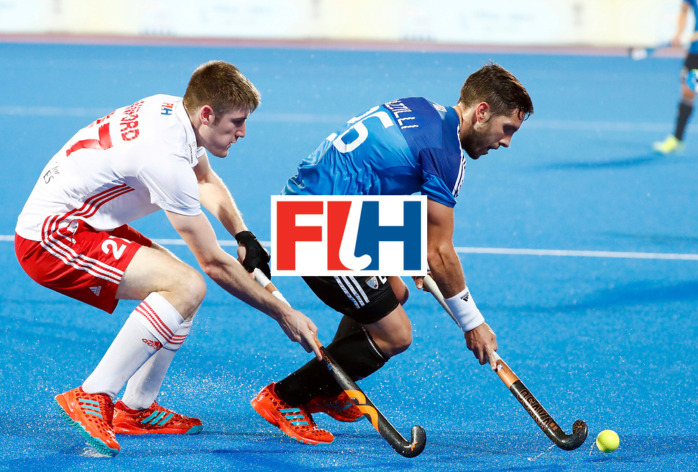 Odisha Men's Hockey World League Final Bhubaneswar 2017<br /> Match id:14<br /> England v Argentina<br /> Foto: Liam Sanford (Eng) in dual with Agustin Mazzilli (Arg) <br /> COPYRIGHT WORLDSPORTPICS KOEN SUYK