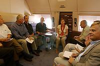 """10 AUG 2003, BERLIN/GERMANY:<br /> Peter Struck (M), SPD, Bundesverteidigungsminister,  barfuss in Socken, waehrend einem Hintergrundgespraech mit Journalisten,im Konferenzraum eines Airbus A310 """"Konrad Adenauer"""" der Flugbereitschaft der Bundesluftwaffe waehrend einem Flug von Berlin nach Usbekistan<br /> IMAGE: 20030810-01-012<br /> KEYWORDS: Bundeswehr, Streitkraefte, Streitkräfte, Praesidentenmaschine, Präsidentenmaschine, Luftwaffe, Airforce No 1, Flugzeug, Plane, Journalist, Pressekonferenz, Gespraech, Gespräch,"""