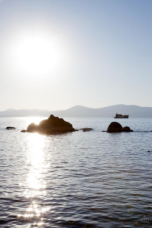 """Paddlewheeler on Lake Tahoe"" - This Paddlewheel boat was photographed near Sand Harbor, Lake Tahoe."