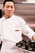 Head cook Peter Lin, with Boston lobsters at The Peninsula Shanghai.