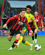 Harry Wilson (22) of AFC Bournemouth is fouled by Jamal Lewis (12) of Norwich City during the Premier League match between Bournemouth and Norwich City at the Vitality Stadium, Bournemouth, England on 19 October 2019.