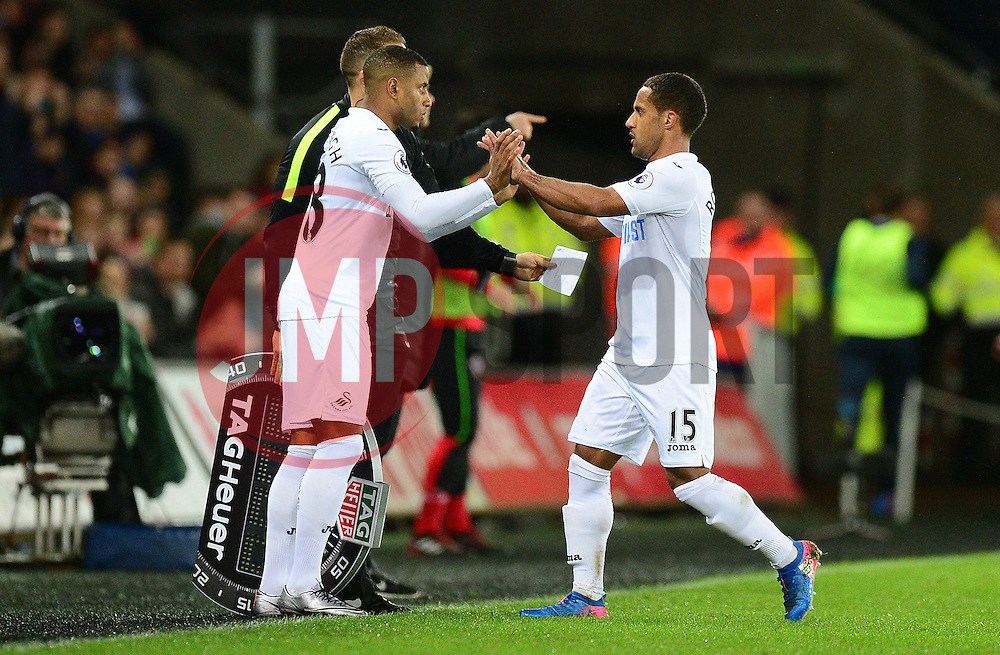 Wayne Routledge of Swansea City is replaced by Luciano Narsingh of Swansea City - Mandatory by-line: Alex James/JMP - 31/01/2017 - FOOTBALL - Liberty Stadium - Swansea, England - Swansea City v Southampton - Premier League