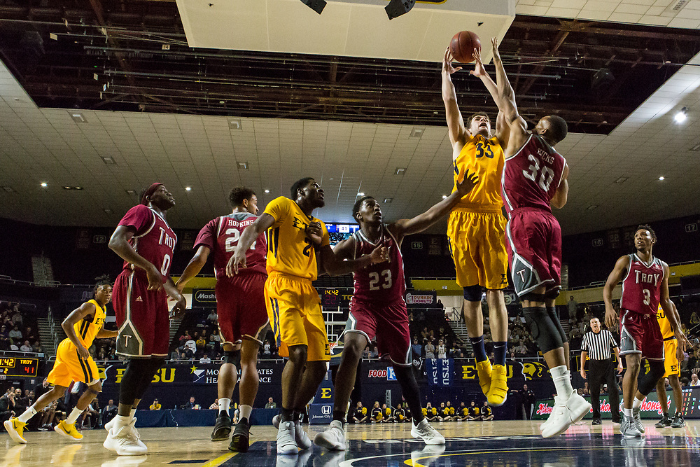 November 22, 2017 - Johnson City, Tennessee - Freedom Hall: ETSU forward David Burrell (2), ETSU forward Mladen Armus (33)<br /> <br /> Image Credit: Dakota Hamilton/ETSU