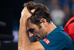 MELBOURNE, Jan. 20,2019  Roger Federer of Switzerland leaves the court after the men's singles 4th round match against Stefanos Tsitsipas of Greece at the Australian Open in Melbourne, Australia, Jan. 20, 2019. (Credit Image: © Elizabeth Xue Bai/Xinhua via ZUMA Wire)