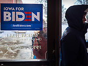 18 JANUARY 2020 - INDIANOLA, IOWA: A person walks into a campaign for former Vice President Joe Biden at Simpson College Saturday. About 250 people came to Simpson College to listen to Vice President talk about his reasons for running for President. Iowa hosts the first event of the presidential election cycle. The Iowa Caucuses are Feb. 3, 2020.       PHOTO BY JACK KURTZ