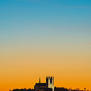At dusk, the gradient between day and night is seen in color behind the Basilica of our Lady in downtown Guelph.  Photo by Andrew Goodwin