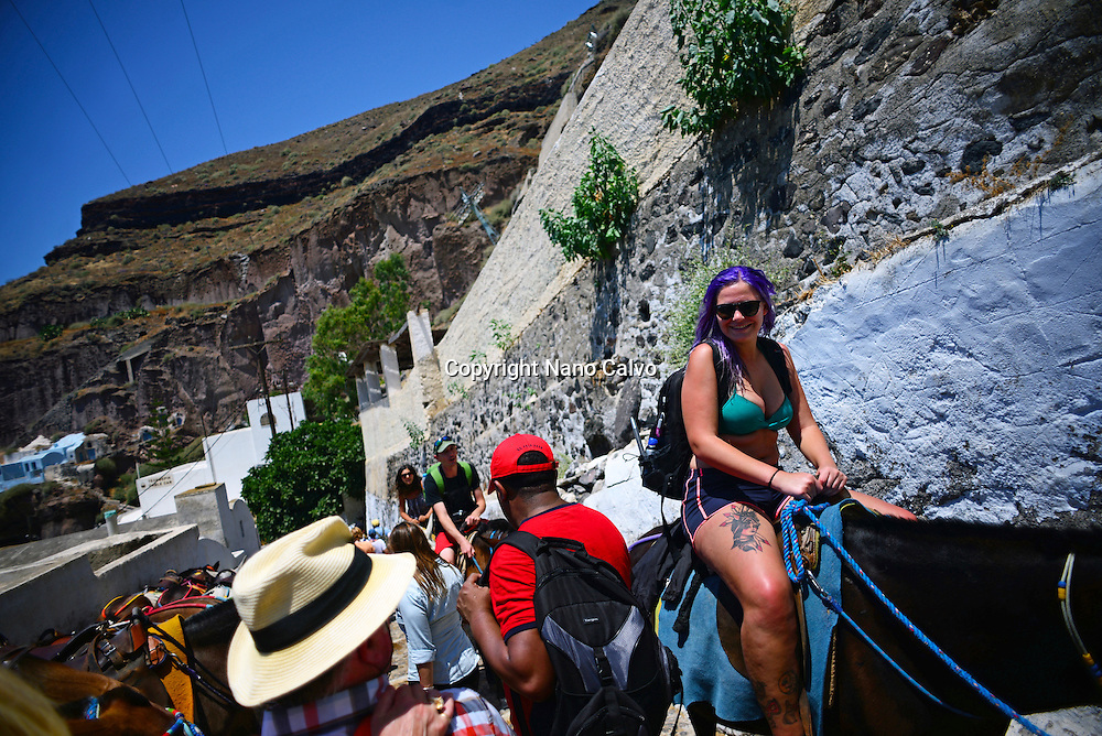 Mule taxis and donkey riding in Fira, Santorini, a cruel tradition that contributes to animal abuse, according to many animal welfare organisations.