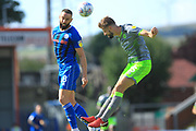 Aaron Wilbraham and John Guthrie during the EFL Sky Bet League 1 match between Rochdale and Walsall at Spotland, Rochdale, England on 25 August 2018.