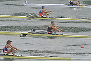 Lucerne SWITZERLAND,  W1X. Start of the Second semi-final women's single sculls,  top down AZE W1X Nataliya MUSTAFYEVA, NZL W1X. Emma TWIGG and CZE W1X Mirka KNAPKOVA,  at the   2011 FISA World Cup on the Lake Rotsee.  15:42:26  Saturday   09/07/2011   [Mandatory Credit Peter Spurrier/ Intersport Images]