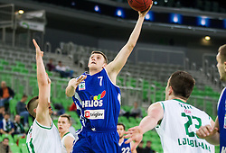 Dino Muric of Union Olimpija vs Gezim Morina of Helios Domzale  during basketball match between KK Union Olimpija Ljubljana and KK Helios Domzale in Game #1 of Slovenian National Championship - Telemach League 2012/2013, on March 27, 2013, in Arena Stozice, Ljubljana, Slovenia. Union Olimpija defeated Helios Domzale 77-63. (Photo by Vid Ponikvar / Sportida.com)