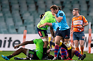 SYDNEY, NSW - MAY 19: Waratahs player Cameron Clark after being kicked in the face by Highlanders player Tevita Nabura at week 14 of the Super Rugby between The Waratahs and Highlanders at Allianz Stadium in Sydney on May 19, 2018. (Photo by Speed Media/Icon Sportswire)