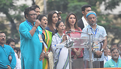 July 21, 2017 - Kolkata, India - TMC Supremo and West Bengal Chief Minister Mamata Banerjee during the Martyrs Day rally at Esplanade on July 21, 2017 in Kolkata, India. Martyrs Day is observed by Trinamool Congress to commemorate the death of 13 Youth Congress workers in police firing in 1993. (Credit Image: © Debajyoti Chakraborty/NurPhoto via ZUMA Press)