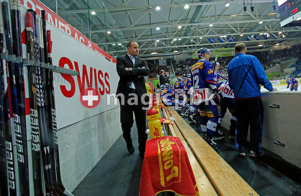Kloten Flyers assistant coach Frederic Rothen (L) is pictured during the ice hockey game of the Swiss National League A (Season 2012-2013) between Kloten Flyers and EHC Biel-Bienne held at the Kolping Arena in Kloten, Switzerland, Tuesday, Oct. 9, 2012. (Photo by Patrick B. Kraemer / MAGICPBK)