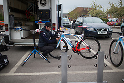 A FDJ Nouvelle Aquitaine Futuroscope Team mechanice prepares Roxanne Knetemann's (NED) bike before the Tour de Yorkshire - a 122.5 km road race, between Tadcaster and Harrogate on April 29, 2017, in Yorkshire, United Kingdom.