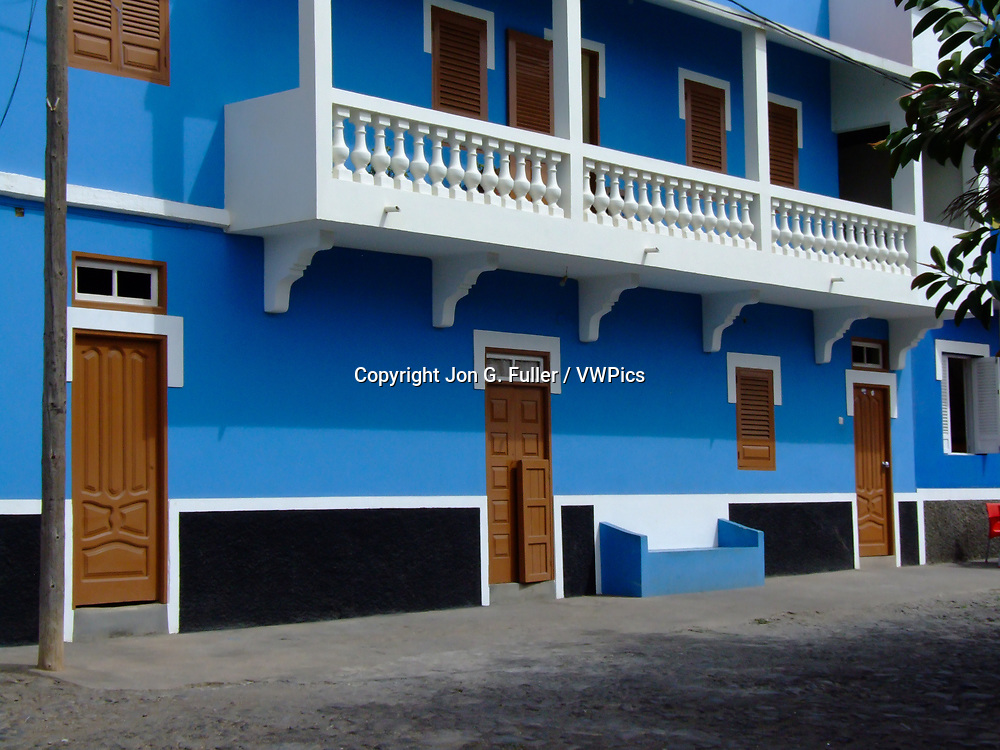 Brightly painted blue and white colonial building in Ponta do Sol, Santo Antao, Republic of Cabo Verde, Africa.
