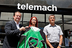 Matjaz Sekelj, Mitja Mejac and Ditka Maucec of UPC Telemach at HDD UPC Telemach Olimpija Press Conference about new main sponsor UPC Telemach as main sponsor of HDD Olimpija, on June 20, 2012 at UPC Telemach, Ljubljana, Slovenia. (Photo By Matic Klansek Velej / Sportida)