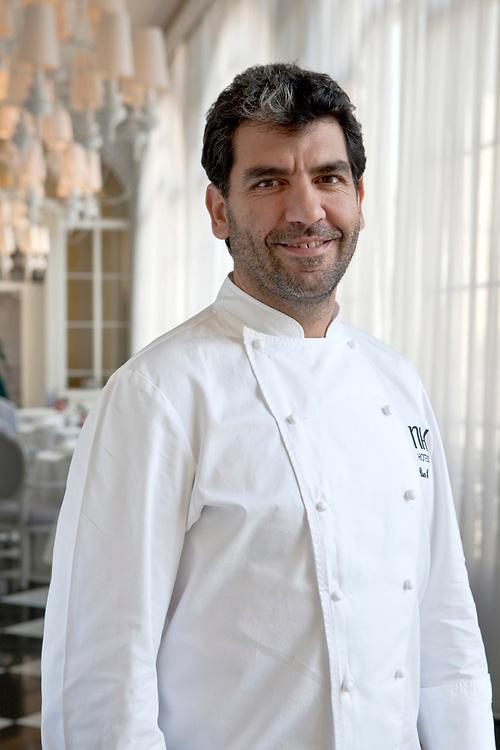 Spanish chef Paco Roncero at his elegant restaurant at Casino de Madrid (Alcalá, 15, Madrid, Spain)..