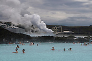 People bathing in hot spring. Blue Lagoon. Iceland.