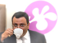 Cyrus Mistry, Chairman of Tata Group drinking a cup of Tetley tea.