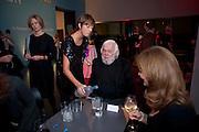 JESSICA MORGAN CURATOR POURING VODKA FOR JOHN BALDESSARI, Miroslaw Balka/John Baldessari Opening Reception, Tate Modern. Monday 12 October