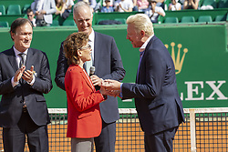 German Tennis player Boris Becker receives from the Baroness Anne Elisabeth de Massy the golden ring of the Hall of Fame during the Monte Carlo Rolex Masters at the Country Club of Monaco on April 19, 2018. Photo by ABACAPRESS.COM